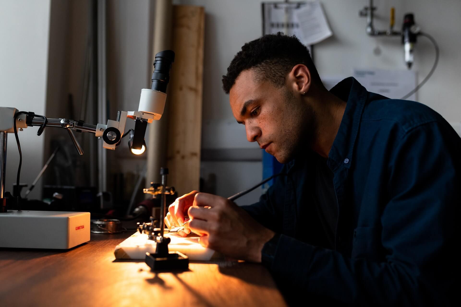 Man doing computer hardware engineering
