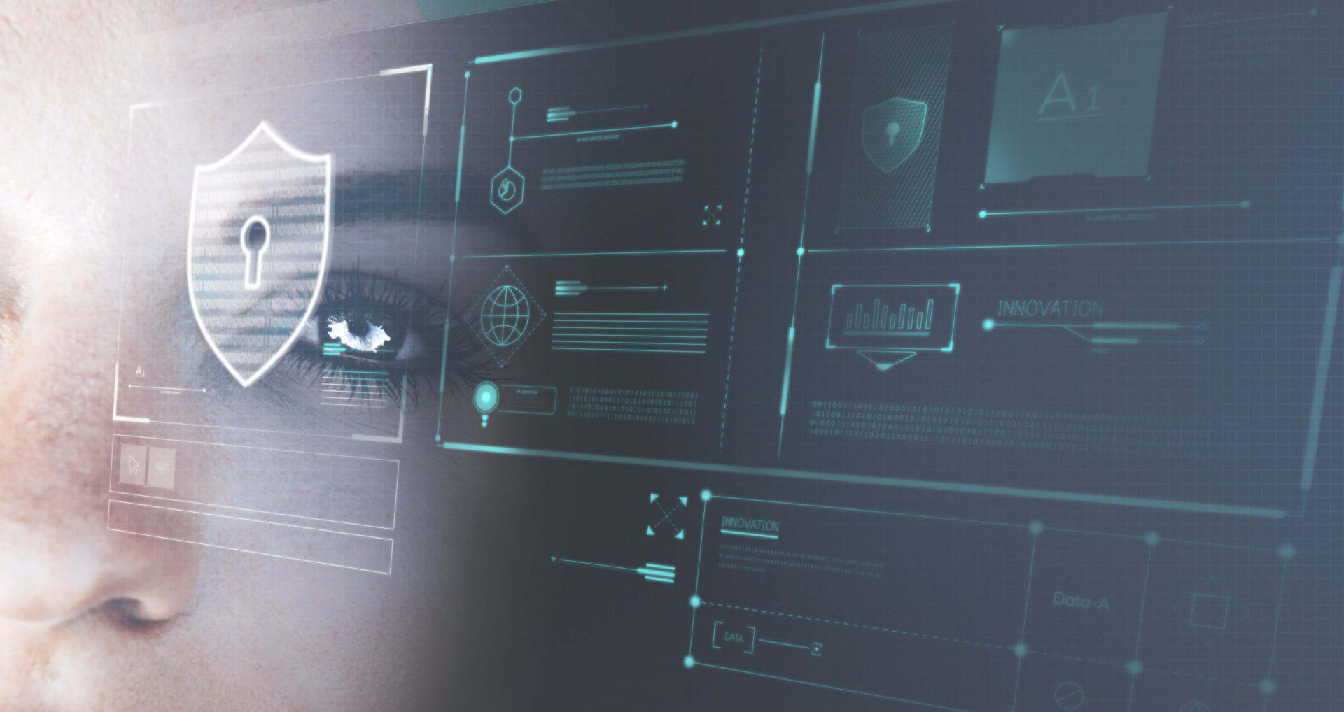 Eye futuristic robot security